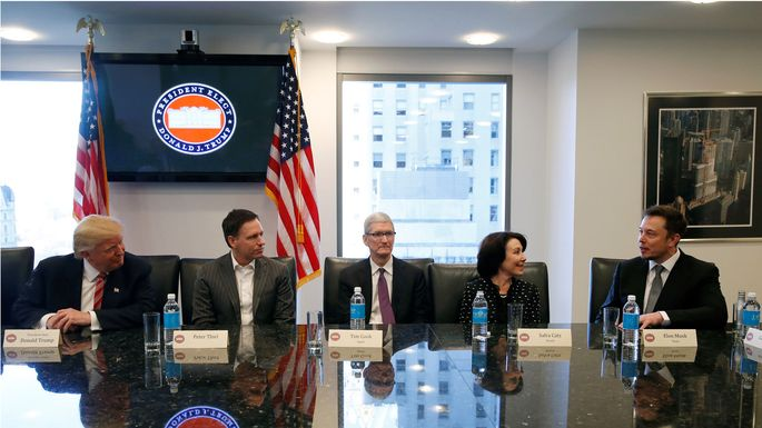 U.S. President-elect Donald Trump sits with PayPal co-founder and Facebook board member Peter Thiel, Apple Inc CEO Tim Cook, Oracle CEO Safra Catz and Tesla Chief Executive Elon Musk during a meeting with technology leaders at Trump Tower in New York
