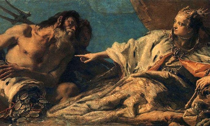 In diesem Gemälde (1748-50) von Tiepolo beschenkt der alte Meeresgott Neptun die Stadt Venedig