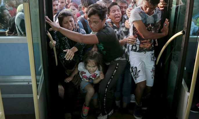 Refugees and migrants push each other as they try to board a bus following their arrival onboard the Eleftherios Venizelos passenger ship at the port of Piraeus