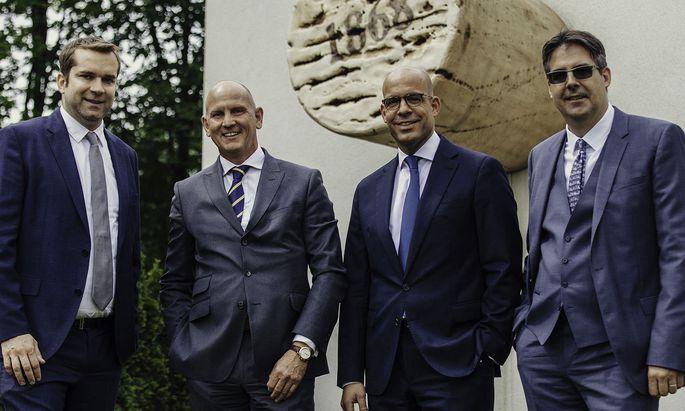 Das Greiner-Erfolgsteam: Dominik Greiner, Vorsitzender des Familiengesellschafterbeirats, AR Christoph Greiner, CEO Axel Kühner und Aufsichtsratsvorsitzender-Stv. Claus Bernhardt (v.l.).