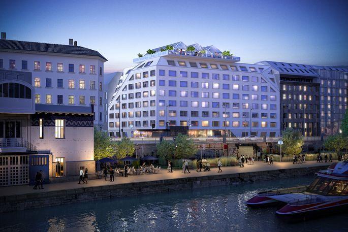 Eine Visualisierung des neuen Lifestyle-Hotel Radisson RED am Donaukanal.
