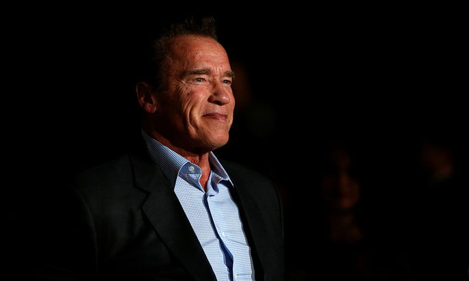 Actor Schwarzenegger poses at a premiere for ´The 15:17 to Paris´ in Burbank