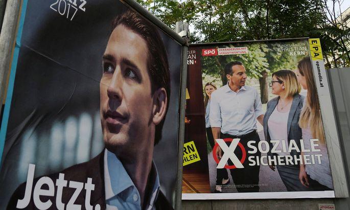 Wahlplakate von Kurz und Kern