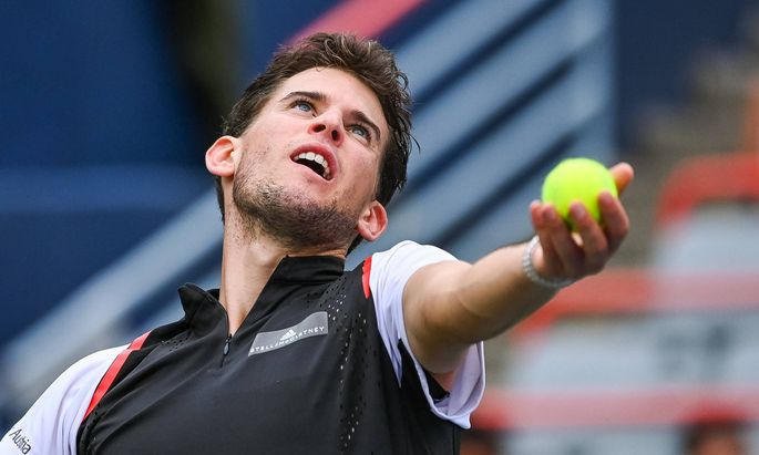 MONTREAL QC AUGUST 07 Dominic Thiem AUT serves the ball during the ATP Tennis Herren Coupe R