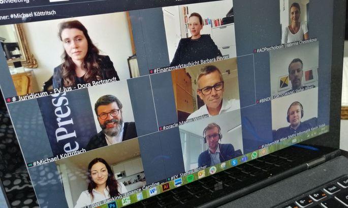 "Dora Bertrand (Jus), Barbara Preyer (FMA), Ekaterina Chesnokova (Psychologie), Moderator Michael Köttritsch (""Die Presse""), Martin Winkler (Oracle), Stefan Albiez (Binder Grösswang), Caroline Pöttinger (IBWL), Steffen Rother (EY), Kevin Sidak (Informatik)"