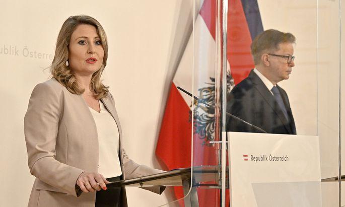 Familienministerin Susanne Raab (ÖVP), Sozialminister Rudolf Anschober (Grüne)