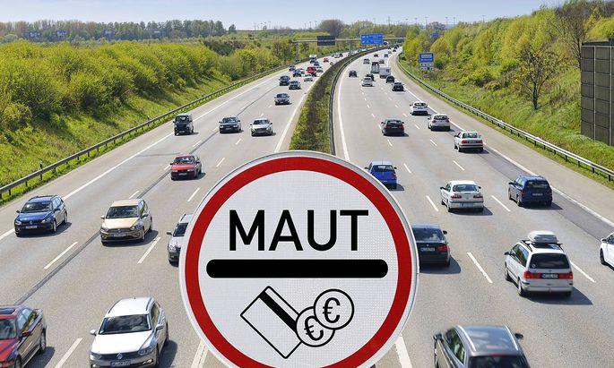 Autobahn und Maut Schild Symbolfoto PKW Maut