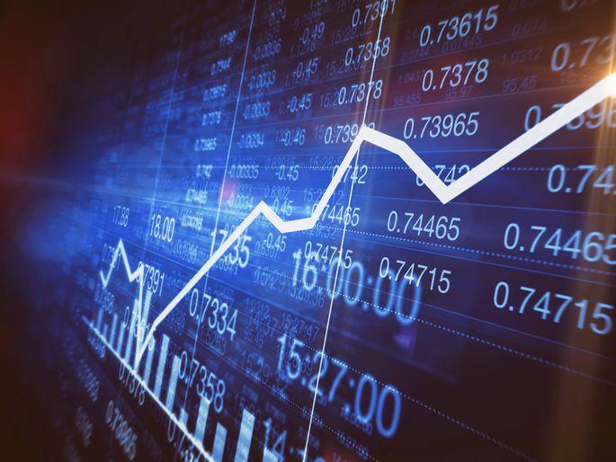 Steigerung in einem Liniendiagramm auf Aktienmarkt