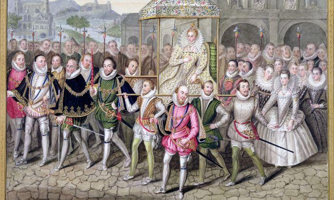 Elizabeth I. förderte nicht nur das Theater, sie wusste sich auch selbst zu inszenieren. Die Halskrause war eines der Markenzeichen der modebewussten Monarchin, hier mit ihrem Hofstaat bei einer Prozession in Sherborne Castle.