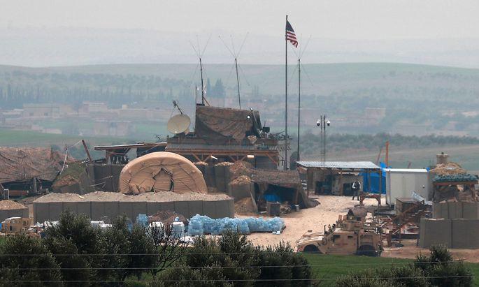 Ein Stützpunkt der US-geführten Koalition nahe Manbij.