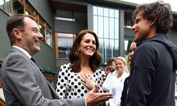 Turnierchef Philip Brook, Herzogin Kate und Dominic Thiem