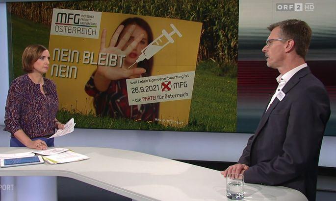 Susanne Schnabl konfrontierte MFG-Landessprecher Joachim Aigner mit Fragen zu Corona-Maßnahmen.