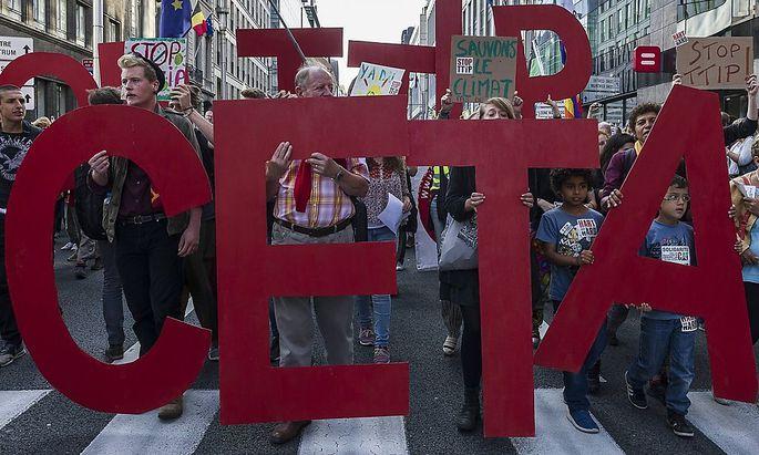 Demonstrationen gegen das Freihandelsabkommen.