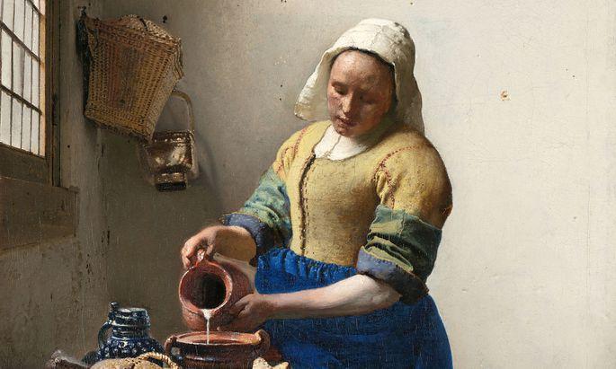 """Jan Vermeers """"Dienstmagd mit Milchkrug"""" (1658-1660). In der Krise entdecken wir die """"einfachen"""" Genüsse: selbst gemachtes Brot, selbst angesetztes Joghurt."""