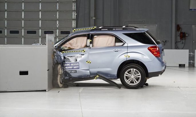 A 2014 Chevrolet Equinox is pictured during a crash test study conducted by the Insurance Institute for Highway Safety
