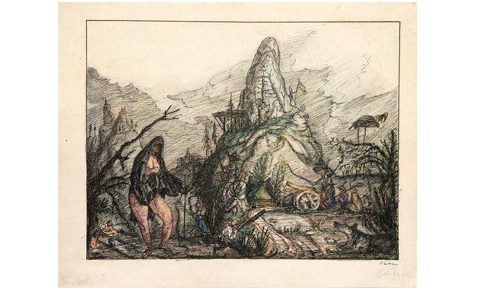 """Alfred Kubins """"Frau von Welt"""", um 1912/15, ist bei W&K in der Ausstellung """"Alfred Kubin – Phantastische Welten"""" zu sehen. Die 2011 im Käthe Kollwitz Museum ausgestellte Arbeit kostet 30.000 Euro."""