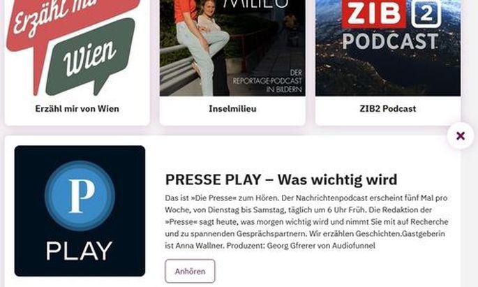 """In der Kategorie """"Podcasts zum Frühstücken"""" sind """"Presse Play"""" und vier weitere österreichische Podcasts nominiert."""