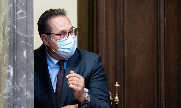 Ex-FPÖ-Obmann Heinz-Christian Strache am fünften Prozesstag im Großen Schwurgerichtssaal