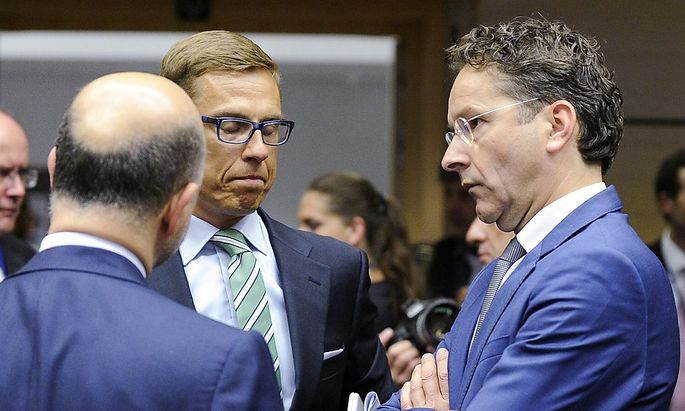 Finnalnds Finanzminister Alexander Stubb (m.) nahm eine besonders Harte Haltung ein