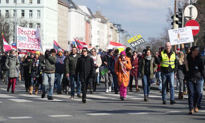 Demonstrationszug in Wien