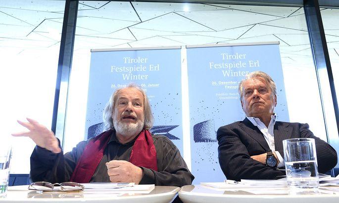 Der zurück getretene Erl-Intendant Gustav Kuhn und Festspielpräsident Hans Peter Haselsteiner bei der Programmpräsentation 2014.