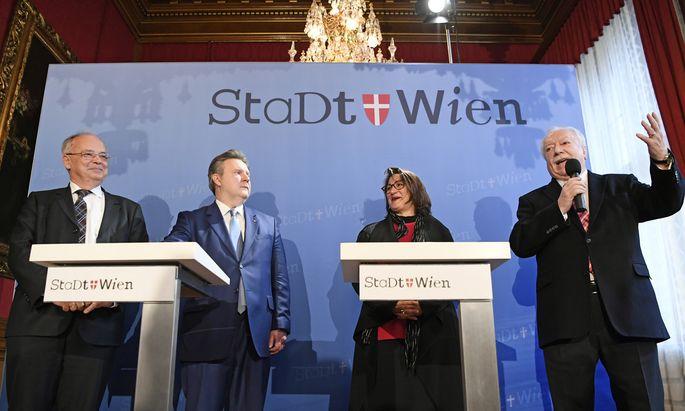 Uni Wien-Rektor Heinz Engl, Bgm. Michael Ludwig (SPÖ), StR Veronica Kaup-Hasler (SPÖ) und WWTF-Präs. Michael Häupl.