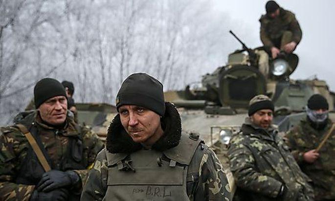 Ukrainische Truppen nahe Debalzewe