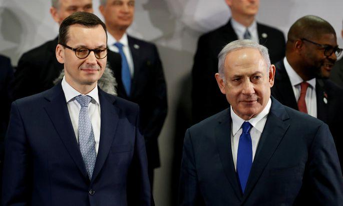 Polens Premierminister Mateusz Morawiecki und Israels Premierminister Miniter Benjamin Netanyahu.