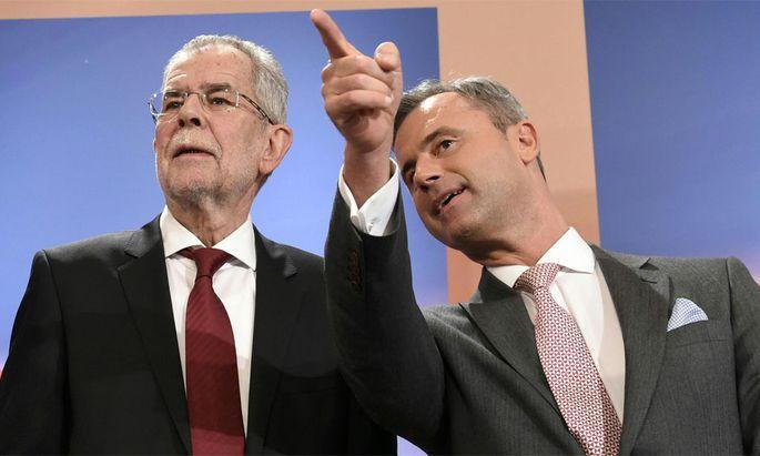 In der Stichwahl: Van der Bellen und Hofer.