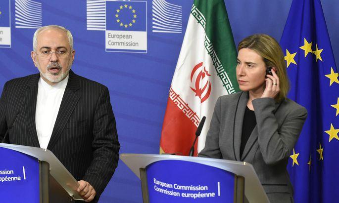 Irans Außenminister Mohammed Zarif und EU-Außenbeauftragte Mogherini: Kandidaten für den Friedensnobelpreis