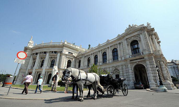Das Wiener Burgtheater nebst zugelassenem Zubringer-Gefährt