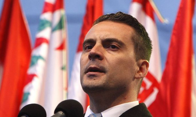 Jobbik President Vona delivers a speech at a rally in Budapest