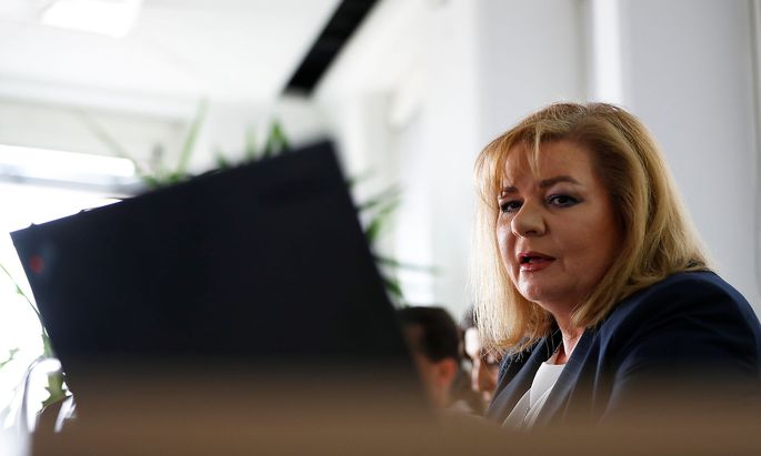 Austrian prosecuter Vrabl-Sanda attends a news conference in Vienna