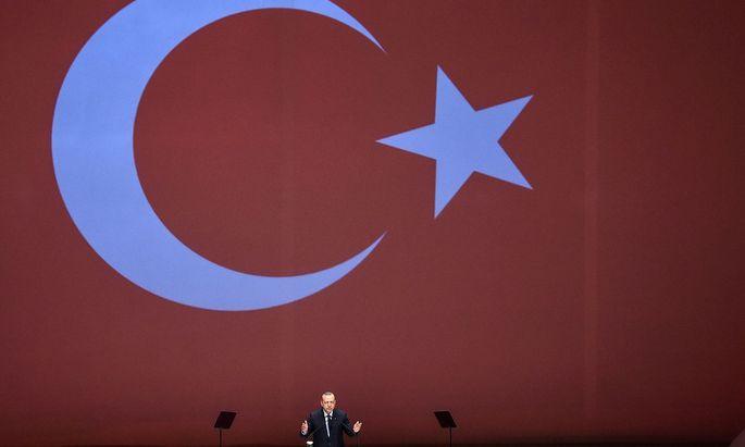 Der türkische Präsident Erdogan bei einer Rede in Istanbul.