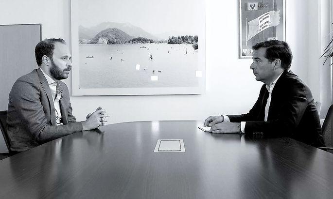 """Nikolaus Scherak im Gespräch mit """"Presse""""-Herausgeber Rainer Nowak"""