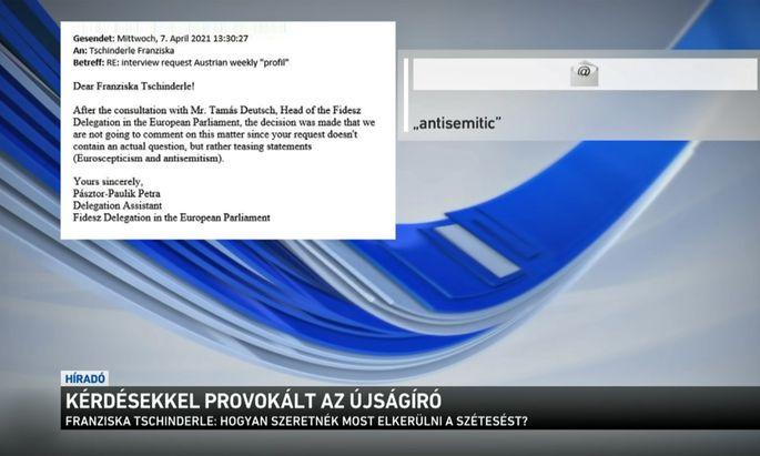 Ein Mail an eine österreichische Journalistin in der ungarischen Hauptnachrichtensendung.