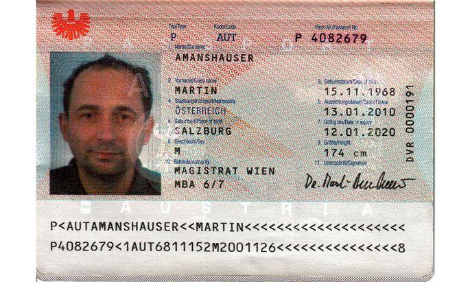 Der Reisepass des Autors wurde 2010 ausgestellt, für
