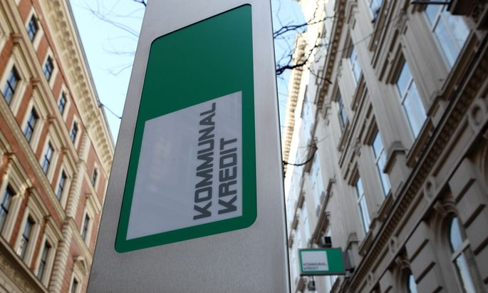 The logo of Kommunalkredit is pictured in front of its headquarters building in Vienna