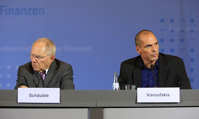 Greek Finance Minister Yanis Varoufakis Attends News Conference With Germany´s Finance Minister Wolfgang Schaeuble