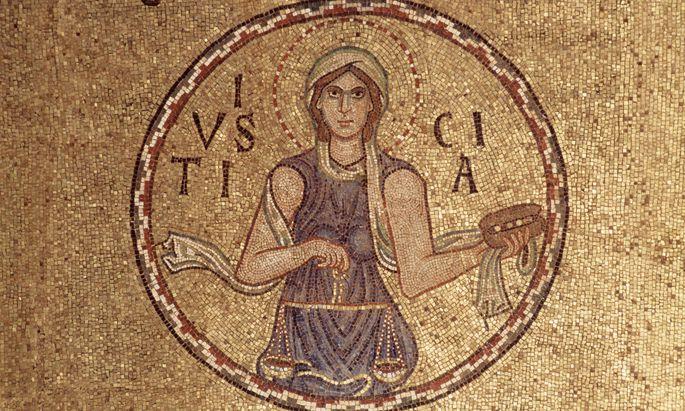"""So sieht sie also aus, noch dazu mit unverbundenen Augen: Die """"Justitia"""" als Mosaik aus dem 13. Jahrhundert in der Vorhalle des Markusdoms in Venedig."""