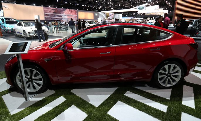 A TESLA Model 3 is shown at the Los Angeles Auto Show