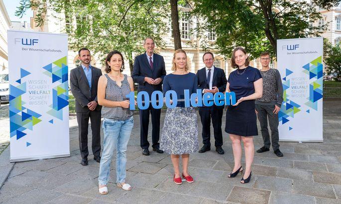 """Funf der """"1000 Ideen"""" wurden diese Woche von FWF-Präsident Klement Tockner und Wissenschaftsminister Heinz Faßmann präsentiert."""