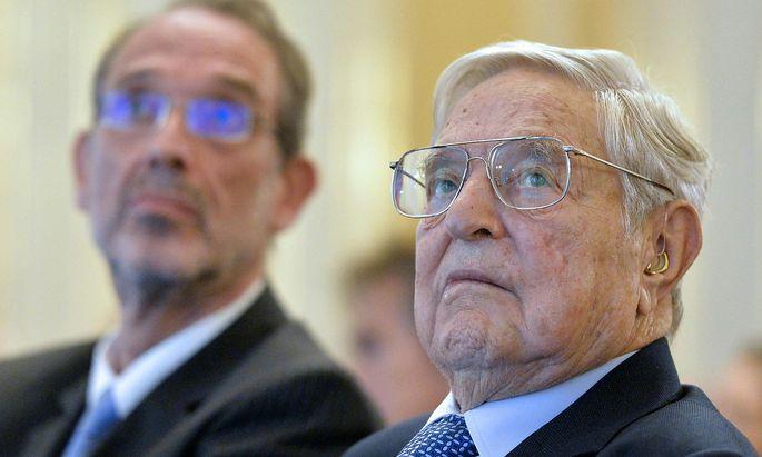 US-Investor George Soros traf am Montag auch auf Bildungsminister Heinz Fassmann (ÖVP).