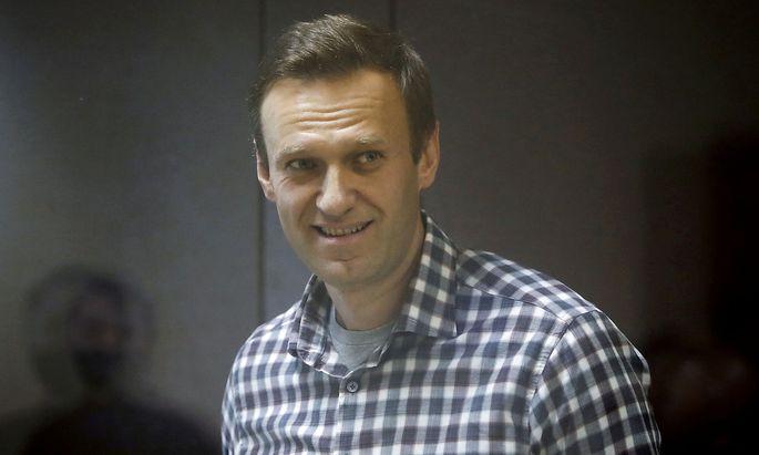 Nawalny bei einer Gerichtsanhörung im Februar. Jetzt wird er in einem Lager festgehalten.