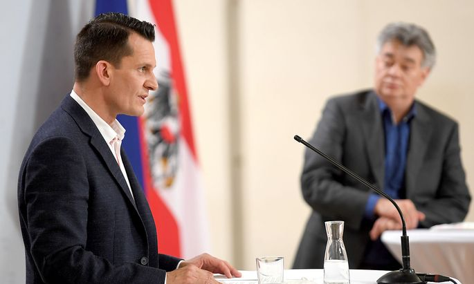 Österreichs neuer Gesundheitsminister Wolfgang Mückstein mit Vizekanzler Werner Kogler.
