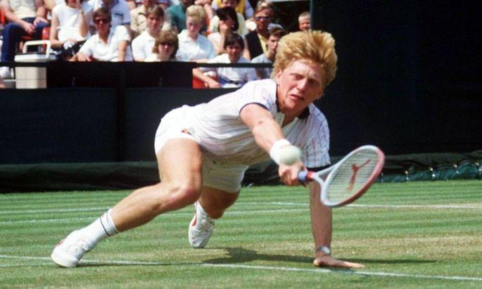 Boris Becker Deutschland mit dem beruehmten und nach ihm benannten Beckerhecht