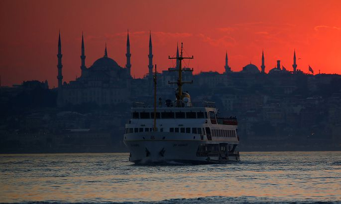 Sun sets over the old city in Istanbul