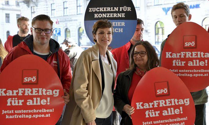 SPÖ-Vorsitzende Pamela Rendi-Wagner anlässlich des Aktionstages 'KarFREItag für alle' in Wien