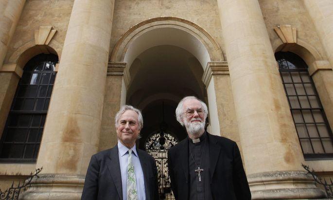 Archivbild: Atheist Richard Dawkins (links) mit dem Erzbischof von Cantebury Rowan Williams.