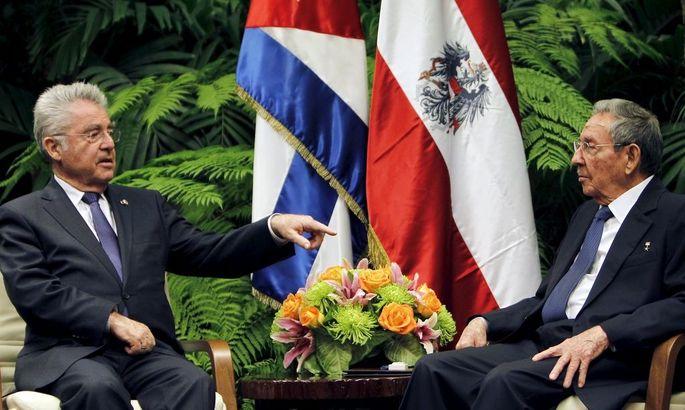 Bundespräsident Heinz Fischer mit Kubas Staatschef Raúl Castro